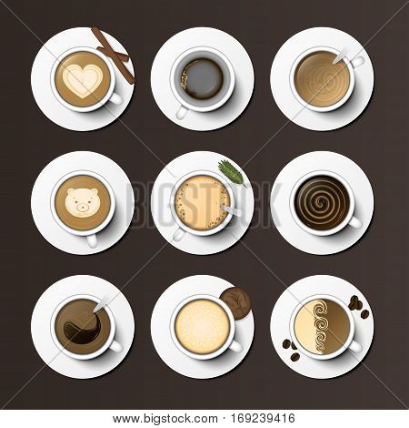 Different types of coffee, chocolate, cocoa on the blackboard. Perfect for menu assortment top view collection vector illustration. Christmas organic warm aromatic nature graphic beverage.