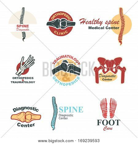 Orthopedics and traumatology emblem set. Human skeleton bones and joints of leg, hand, spine, foot, pelvis and knee symbols for medical clinic, diagnostic center badge and label design