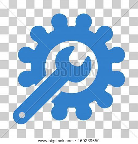 Wrench And Gear Customization Tools icon. Vector illustration style is flat iconic symbol cobalt color transparent background. Designed for web and software interfaces.