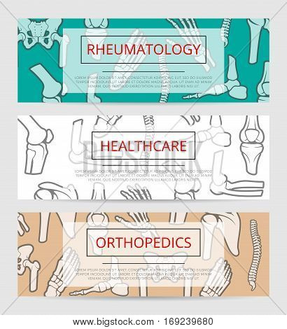 Healthcare, orthopedics and rheumatology banner template with bones and joints. Hand, foot, spine, knee, elbow, pelvis, shoulder signs with text layout for hospital, clinic or diagnostic center design