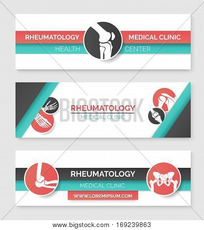 Medical clinic and health center banner template set. Round badges with human skeleton leg, hand, foot, knee, pelvis, shoulder bones and joints for rheumatology medicine and healthcare design