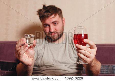 Alcohol addicted man after hard drinking.