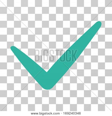 Valid icon. Vector illustration style is flat iconic symbol cyan color transparent background. Designed for web and software interfaces.