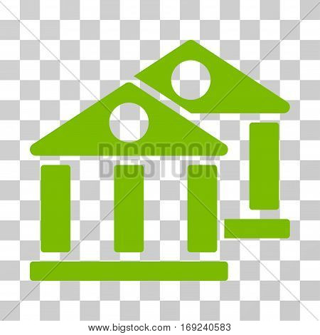 Banks icon. Vector illustration style is flat iconic symbol eco green color transparent background. Designed for web and software interfaces.
