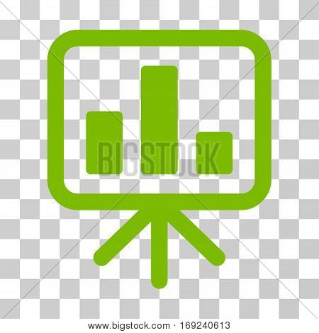 Bar Chart Display icon. Vector illustration style is flat iconic symbol eco green color transparent background. Designed for web and software interfaces.