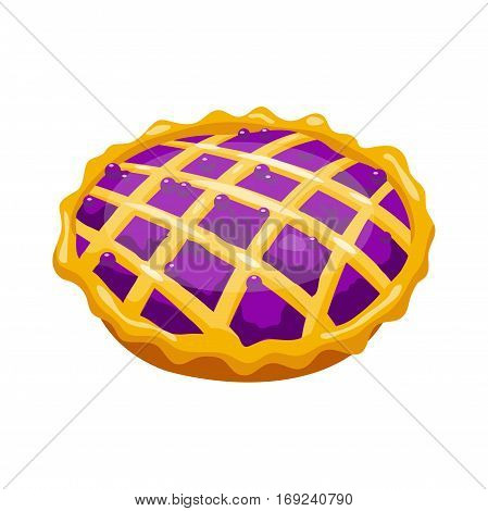 Homemade organic bilberry pie dessert vector illustration. Fresh golden rustic gourmet bakery. Traditional slice crust delicious. Seasonal tasty warm baked dish.