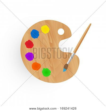Palette illustration with paint and brush isolated on a white background