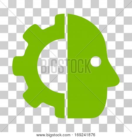 Cyborg icon. Vector illustration style is flat iconic symbol eco green color transparent background. Designed for web and software interfaces.