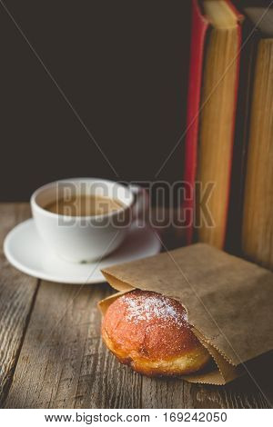 Life chill with Hot Coffee and Donut on wood Background used for food ad or website promote. Snacks for people to work in the rush hour