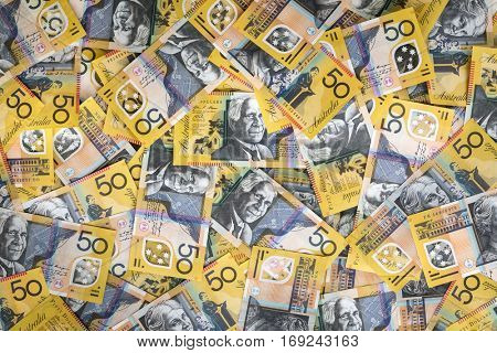 Australian money background.  Fifty dollar notes, top view. XXXL.