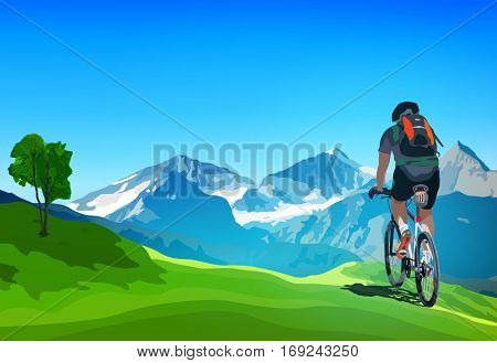 Man cyclist traveling on Alps mountains landscape at summer season