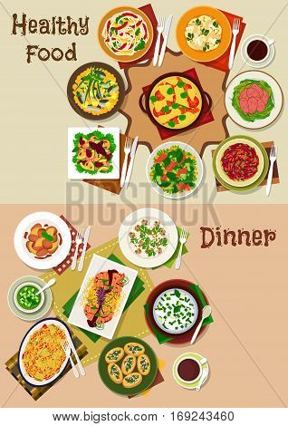 Salad and snack food dishes for dinner icon set of vegetable salad with pork, salmon, beef, shrimp and ham, cheese and vegetable pasta, chicken liver, mushroom rice, cucumber and yogurt soup, omelette