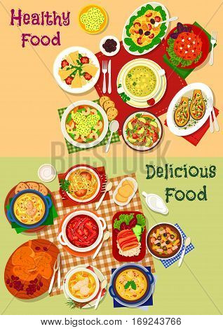 Russian cuisine soup and fresh salad dishes icon set with vegetable, meat and pasta salad, beef, chicken, fish soup with mushroom, sausages, cheese dumpling and olive, baked chicken and eggplant snack