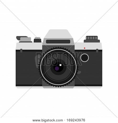 Camera photo optic lens on white background. Vintage technology electronic aperture device.