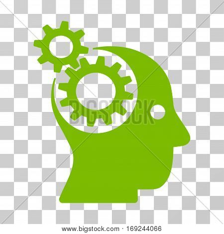 Intellect Gears icon. Vector illustration style is flat iconic symbol eco green color transparent background. Designed for web and software interfaces.