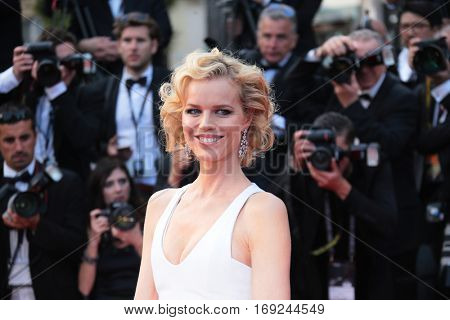 Eva Herzigova attends 'The Unknown Girl (La Fille Inconnue)' Premiere duirng the annual 69th Cannes Film Festival at Palais des Festivals on May 18, 2016 in Cannes, France.