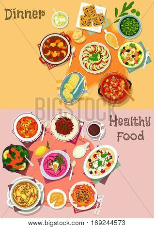 Mediterranean cuisine icon with vegetable soup, chicken, pasta, salmon and carrot salads with cheese, tomato, olive, egg and fruit, veggies, beef and pork stew, onion pie, olive sauce, flavored butter