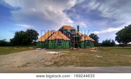 A large single family house under construction