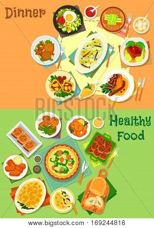 Main dishes for dinner icon set of fish pie, cutlet and casserole with vegetable and cheese, fried egg with veggies, baked pork, goose and pepper, vegetable and fish snack, carrot pancake, squid rings