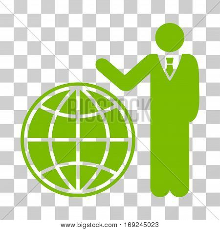 Planetary Manager icon. Vector illustration style is flat iconic symbol eco green color transparent background. Designed for web and software interfaces.