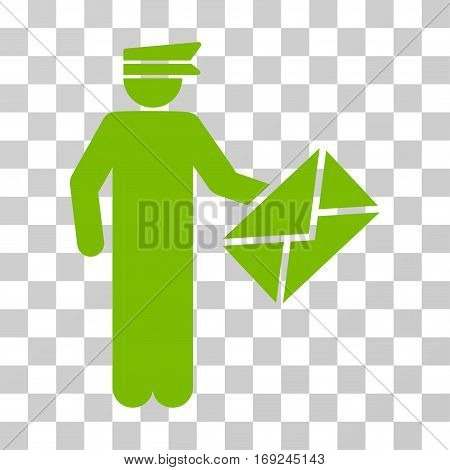 Postman icon. Vector illustration style is flat iconic symbol eco green color transparent background. Designed for web and software interfaces.