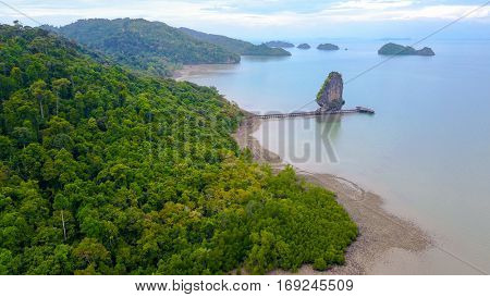 Aerial view of the Ao Talo Wao beach in Koh Tarutao island, Thailand