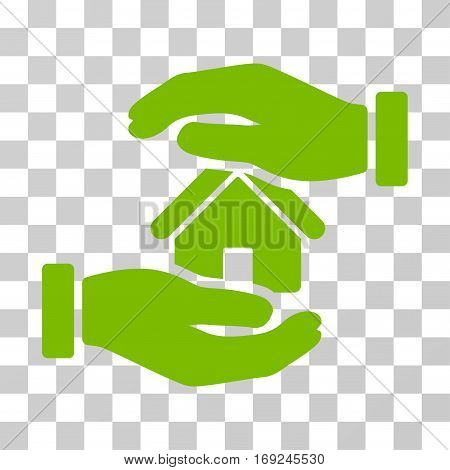 Realty Insurance icon. Vector illustration style is flat iconic symbol eco green color transparent background. Designed for web and software interfaces.