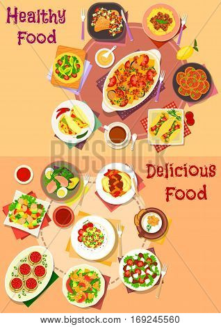 Meat, salad and mexican snack icon with beef, chicken and meatball with vegetables and noodle, mexican taco and tortilla with meat, chilli, bean, salads with veggies, fruit and seafood, stuffed pasta