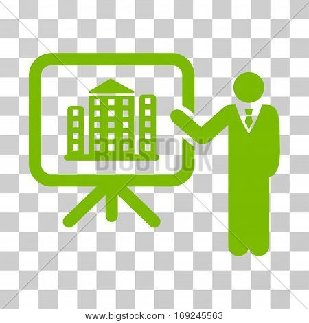 Realty Presention icon. Vector illustration style is flat iconic symbol eco green color transparent background. Designed for web and software interfaces.