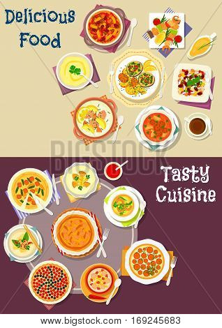 Salad, soup and pastry dishes icon set of cream soup with fish, meat, shrimp and vegetables, bean beef stew, cheese cake, vegetable meat and salmon pie, grilled seafood, berry pie, bean salad