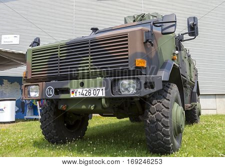 BURG / GERMANY - JUNE 25 2016: german armored military infantry mobility vehicle ATF Dingo stands on open day in barrack burg / germany at june 25 2016