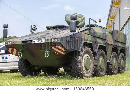 BURG / GERMANY - JUNE 25 2016: german armoured ambulance vehicle Boxer stands on open day in barrack burg / germany at june 25 2016.