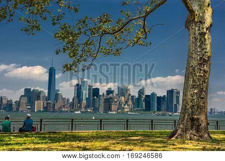 NY Sky panorama from the lberty island