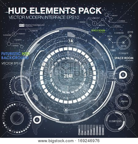 UI hud infographic interface web elements. Futuristic space thin HUD user interface. Web interface elements. Game target navigation interface hud ui design