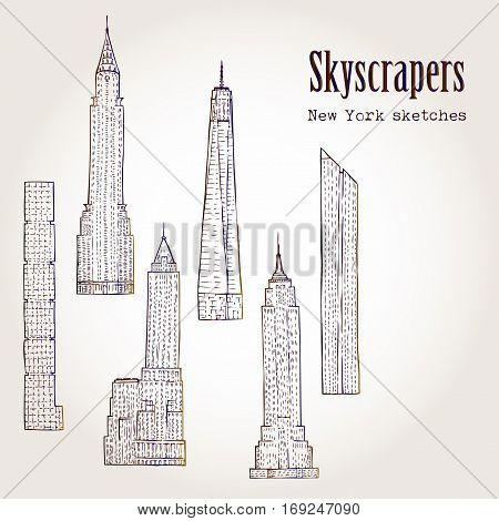 Background with Skyscrapers. Hand drawn cityscape sketches vector illustration