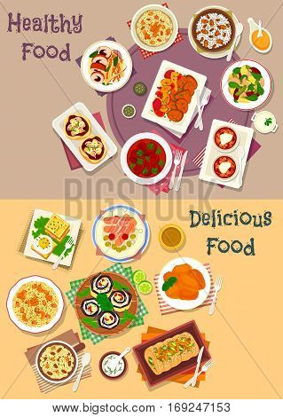 Dinner icon set with ham and egg sandwich, cheese pizza, sausage in bacon, vegetable fish salad, wheat and rice pudding with dried fruit and nut, baked meat and fish with fruit and mushroom, beef stew