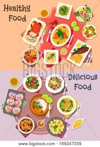 Baked fish and meat icon served with vegetable and fruit salad with seafood, salmon, nut and herring, pasta with meat, fish and cream cheese sauce, beef stew, pork curry, potato pancake, duck rice