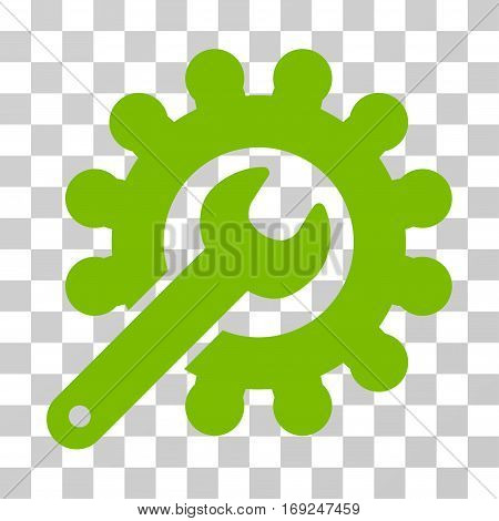Wrench And Gear Customization Tools icon. Vector illustration style is flat iconic symbol eco green color transparent background. Designed for web and software interfaces.