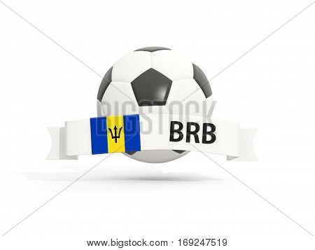 Flag Of Barbados, Football With Banner And Country Code