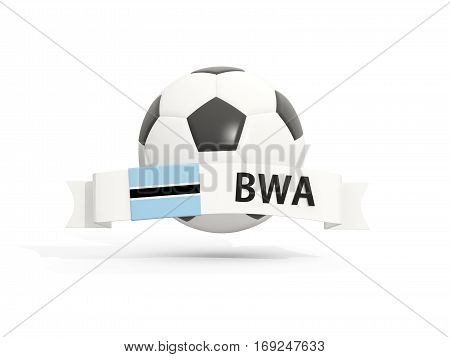 Flag Of Botswana, Football With Banner And Country Code