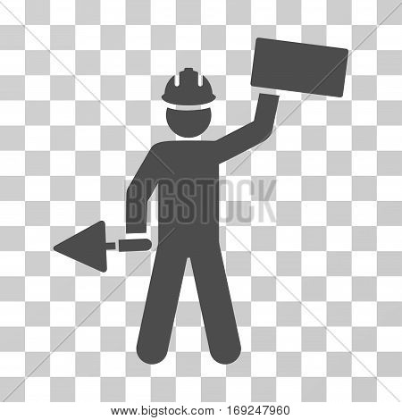 Builder With Brick icon. Vector illustration style is flat iconic symbol gray color transparent background. Designed for web and software interfaces.