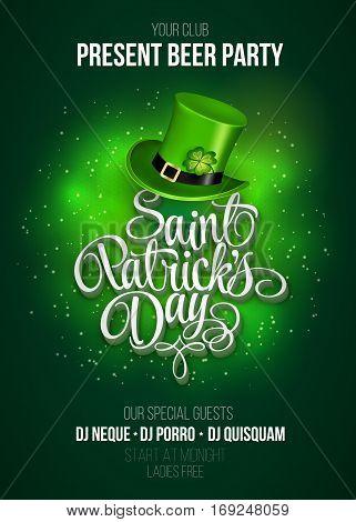 Saint Patricks Day Invitation Card Design with Treasure of Leprechaun on Blurred Green Background. Calligraphic Lettering Inscription Happy St Patricks Day. Vector Illustration.