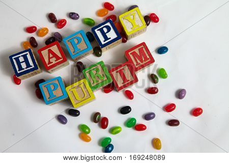 Happy Purim , jewish carnival holiday bright background