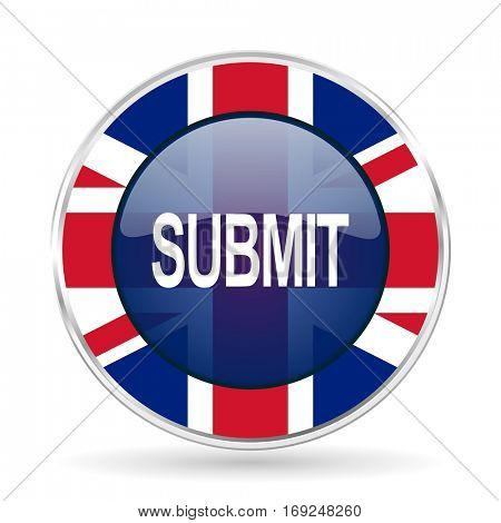 submit british design icon - round silver metallic border button with Great Britain flag