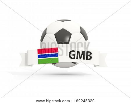 Flag Of Gambia, Football With Banner And Country Code
