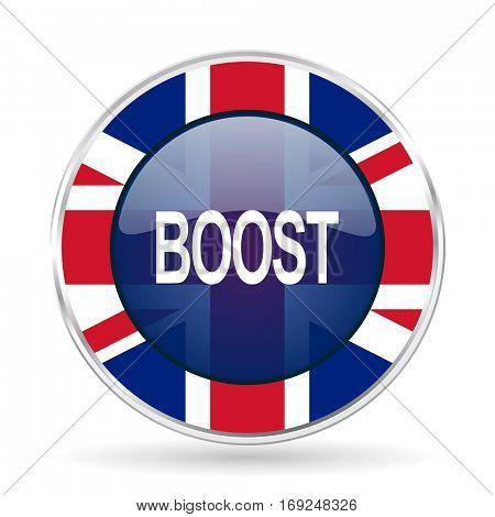 boost british design icon - round silver metallic border button with Great Britain flag
