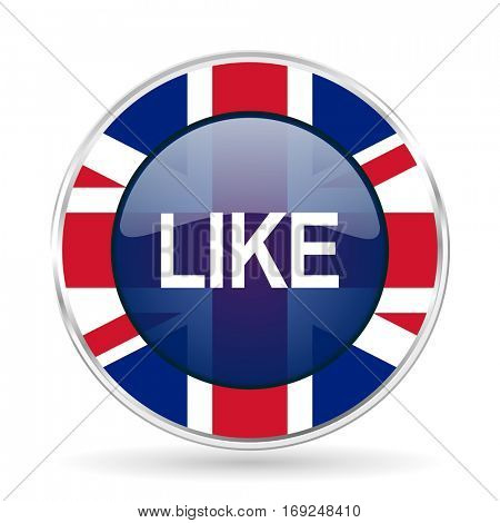 like british design icon - round silver metallic border button with Great Britain flag