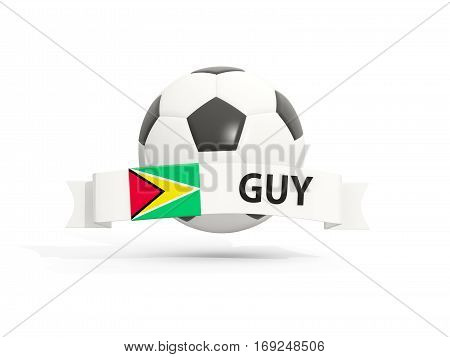 Flag Of Guyana, Football With Banner And Country Code