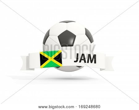 Flag Of Jamaica, Football With Banner And Country Code