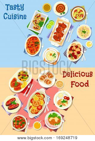 Vegetable and meat dishes icon set of meat baked with vegetable, bean and rice, potato dishes with meat, veggies, mushroom and cheese, egg salad with sausage and squid, veggies stew, chicken lasagna